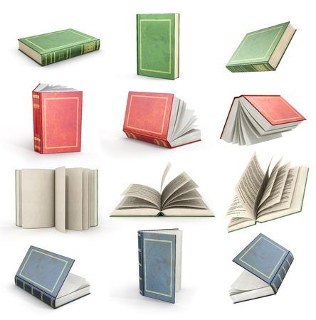 Set van vliegende open boeken. Groene, rode en blauwe boeken.