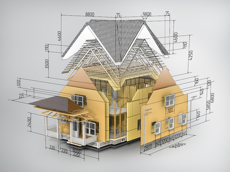 Concept of construction. We see constituents of roof frame and insulation layer with dimensions. Banque d'images