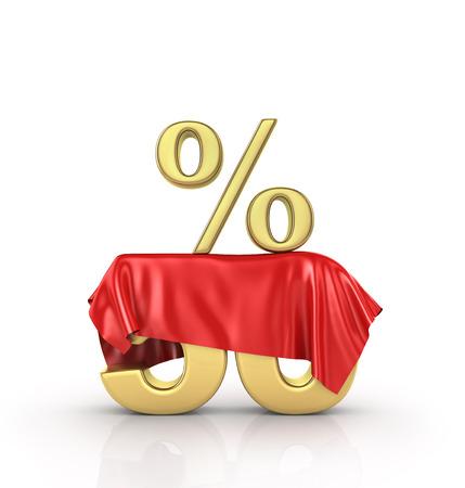 hide: Concept of hide percent. Gold percents hide under the cloak. Surprise sale.