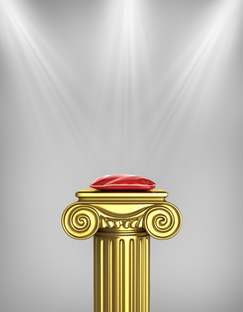 Gold column pedestal with red pillow and rays of light.
