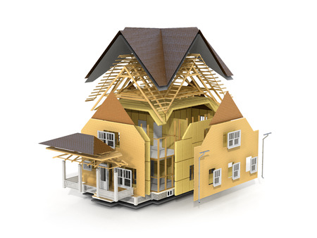 subflooring: Concept of construction. We see constituents of roof frame and insulation layer. Stock Photo