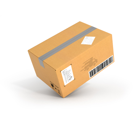 parcels: Global packages delivery and parcels transportation concept, cardboard box on white background