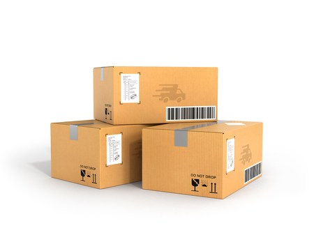 parcels: Global packages delivery and parcels transportation concept, stack of cardboard boxes isolated on white background