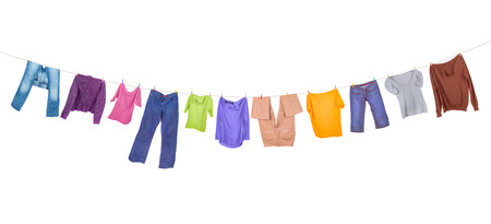 clothes hanging: Clothes hanging isolated on white background