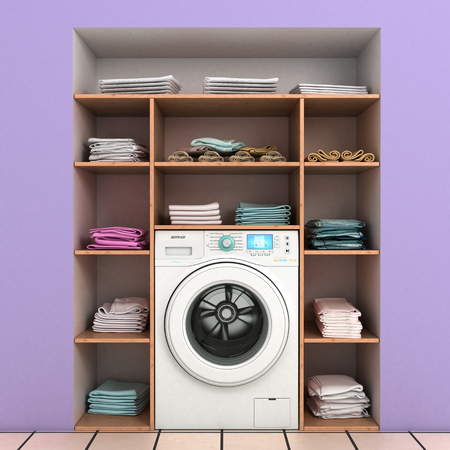 launder: washing machine with built-in wall shelves with towels Stock Photo