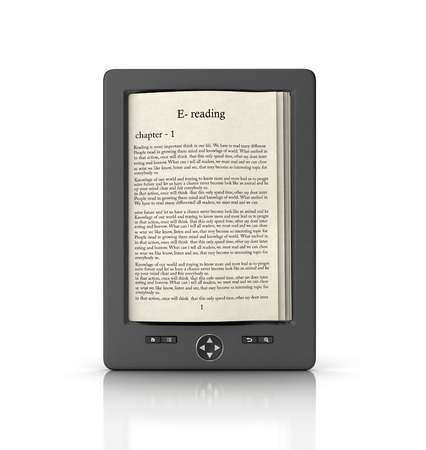 literatura: lectura móvil y el concepto de biblioteca de literatura: Libro con el texto en el ordenador tableta aisladas sobre fondo blanco