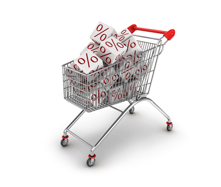 disbelief: Discount concept. Shopping trolley and white cubes with percent sine isolated Stock Photo