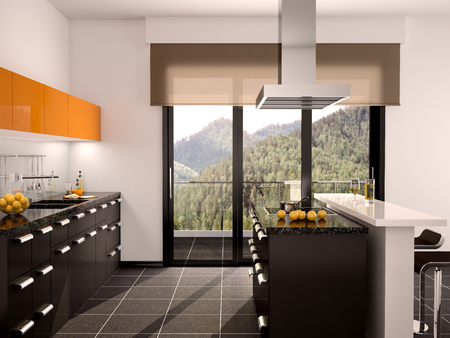 wenge: 3d illustration of modern black and orange kitchen interior with a large window Stock Photo