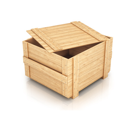 half open wooden box isolated on white stock photo picture and
