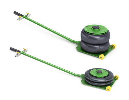 screw jack: Set of two pneumatic vehicle jack in different states on a white background Stock Photo