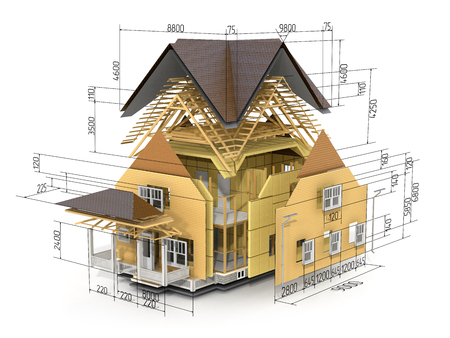 roofing: Concept of construction. We see constituents of roof frame and insulation layer with dimensions. Stock Photo