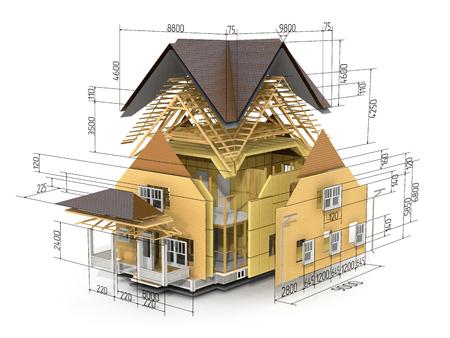 Concepto de construcción. Vemos constituyentes del marco del techo y la capa de aislamiento con dimensiones. Foto de archivo