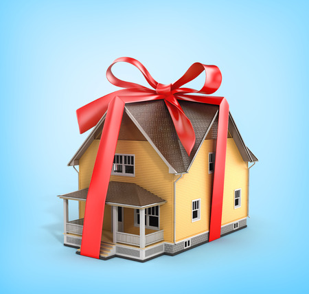 architectural model: Real estate concept. House architectural model with red bow on a blue background. Concept of gift.