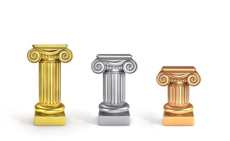 3d temple: Concept of top places. Set of three pedestals. Gold, silver and bronze columns.