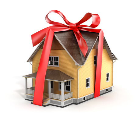 architectural model: Real estate concept. House architectural model with red bow on a white background. Concept of gift.