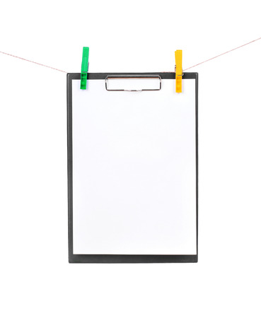 message pad: clipboard on a rope isolated on white