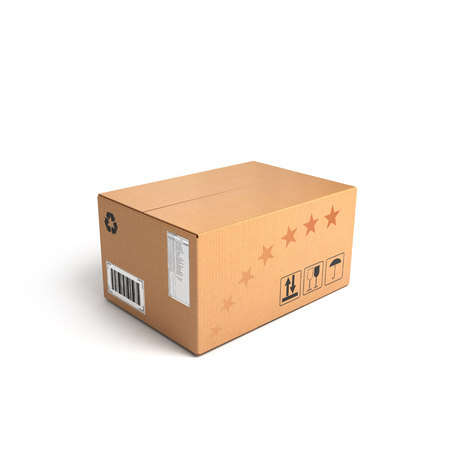 Delivery: Cardboard Box isolated on a White background with clipping path