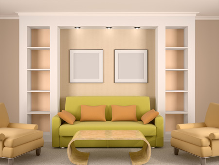 niches: 3d illustration of bright interior room with niches and framework behind the sofa