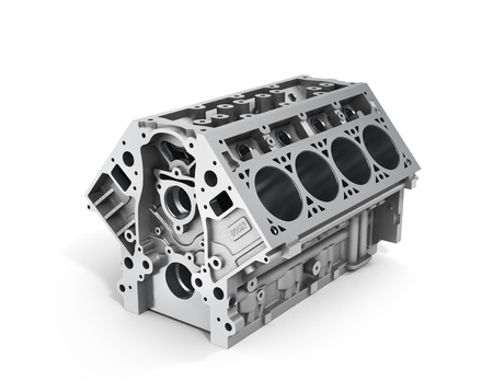 3d render of cylinder block from strong car with V8 engine isolated on a white background.