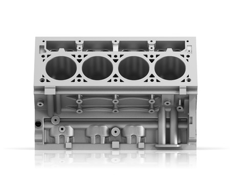 cylinder block: 3d render of cylinder block from strong car with V8 engine isolated on a white background.
