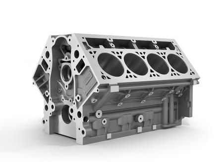 3d geef van cilinderblok van de sterke auto met V8-motor die op een witte achtergrond. Stockfoto