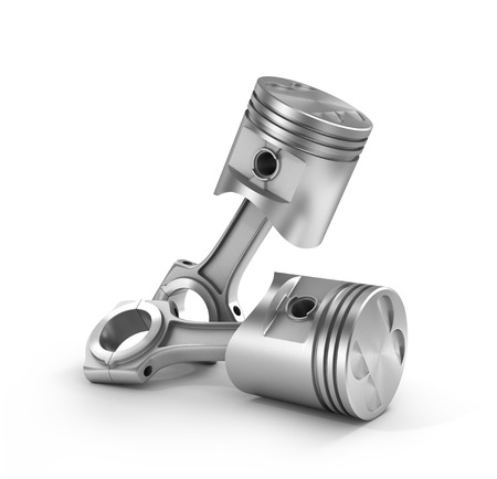 dismounted: 3d illustration of two pistons isolated on a white background.
