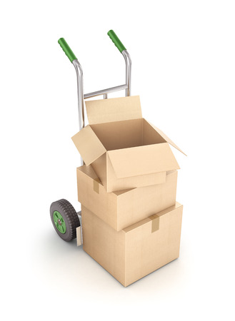 hand truck: Cardboard boxes on hand truck