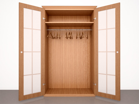 3d illustration of Empty open wooden wardrobe with hangers and transparent doors