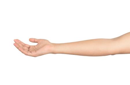 白い背景に分離された男性の手を開いてください。