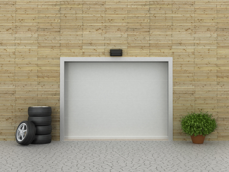 single dwelling: Garage doors and tire. Garage concept.
