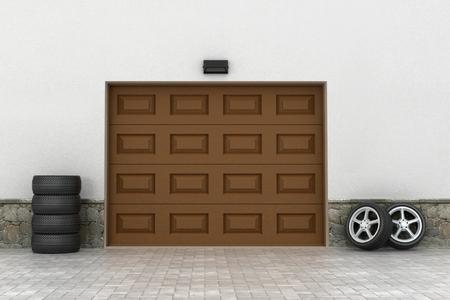garage doors: Garage doors and tire. Garage concept.