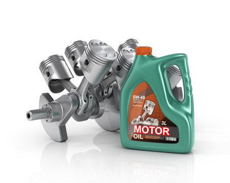 3d render of engine pistols and oil can. Concept of engine service.