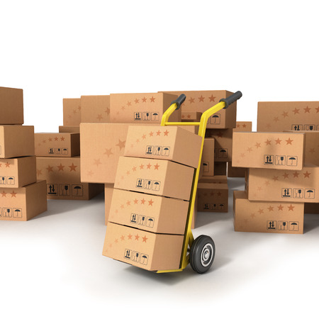 hand truck: Hand truck with boxes standing on the background of boxes of different sizes