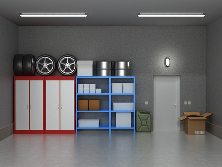Het interieur voorsteden garage met wielen en dozen. Stockfoto