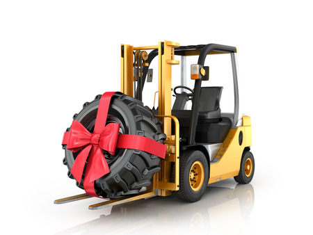 fork lifts trucks: Forklift truck with wheel, ribbon and bow on a white background.