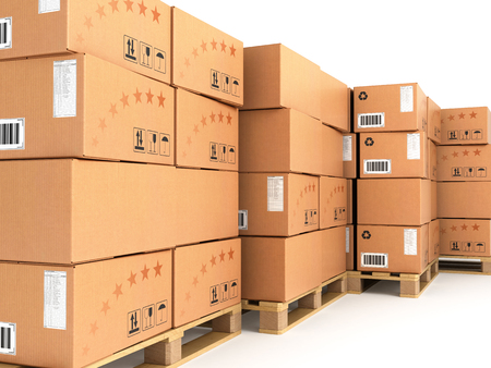 pallet truck: many boxes stacked on pallets isolated on white