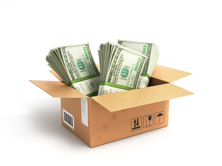 money packs: Money dollars packs in a box isolated on white background Stock Photo