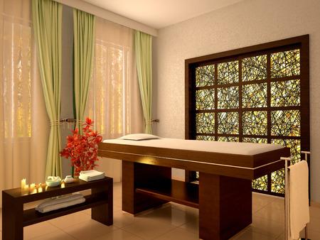 3d illustration of nice massage room in spa salon Stock Photo