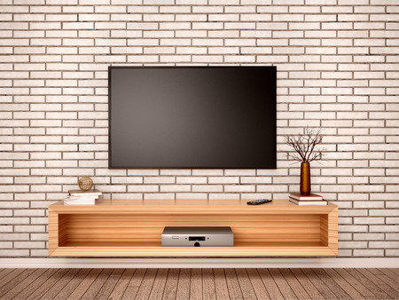comercial: 3d illustration of Flat TV with pedestal in the interior