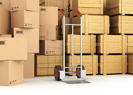 hand truck: Warehouse with wooden and cardboard boxes. Hand truck
