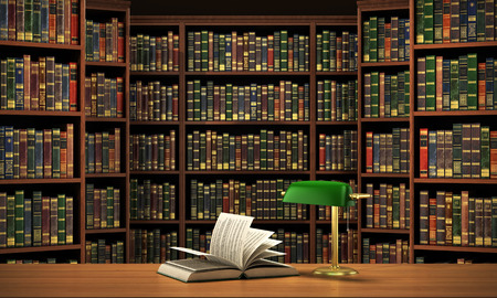 Books on the table in the focus on the blurred background bookshelf full of books. Concept of library. Stockfoto