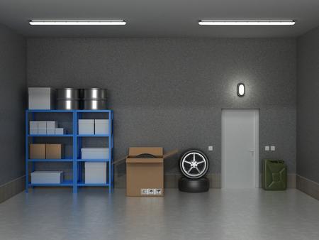 El garaje suburbano interior con ruedas y cajas.