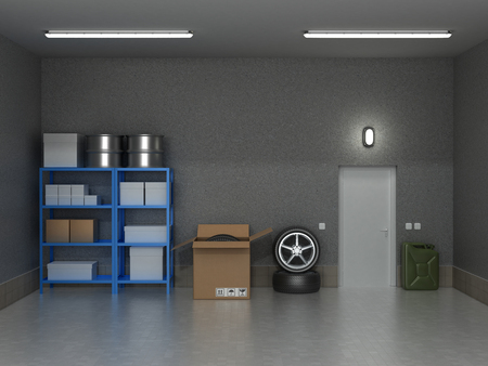 garage door: The interior suburban garage with wheels and boxes.