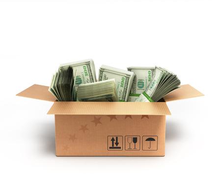 money packs: Money dollars packs in a box isolated on white