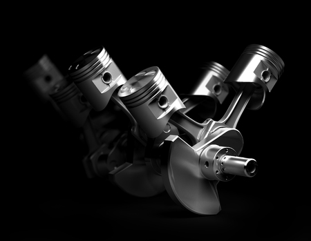 3D render van de V8-motor zuigers en radertje op een zwarte achtergrond.