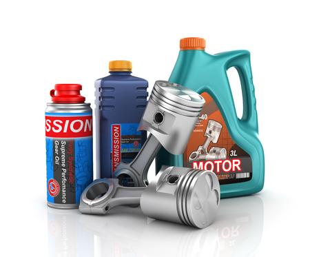 Concept van de motor service. 3D-plaatsing van de motor zuigers met blikjes voor motorolie en versnellingsbakolie. Stockfoto
