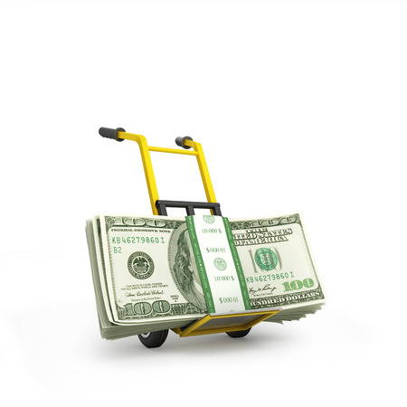 hand truck: Money dollars on the hand truck isolated on white background