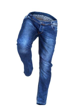 beine spreizen: leere blaue Jeans laufen isoliert auf weißem Hintergrund Lizenzfreie Bilder