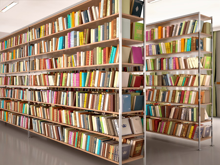 3d illustration of Bright and modern books on the shelves in the library