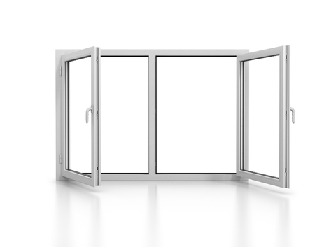 plastic window: open plastic window isolated with reflection Stock Photo